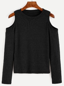 Black Open Shoulder Knit T-shirt