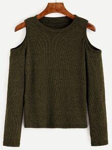 Army Green Open Shoulder Knit T-shirt