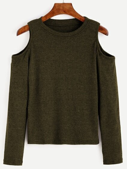 Army Green Open Shoulder Knit T-shirt