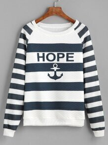 Striped Anchor Print Raglan Sleeve Sweatshirt