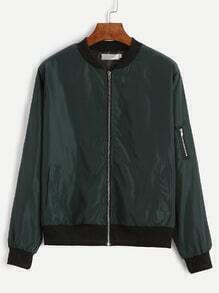 Dark Green Contrast Neck Zipper Bomber Jacket