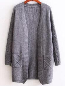 Grey Diamond Pattern Ribbed Longline Sweater Coat