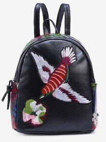 Black Bird Embroidered Patchwork Backpack