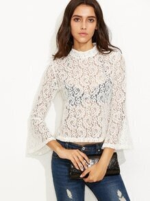 White Bell Sleeve Paisley Crochet Lace Blouse