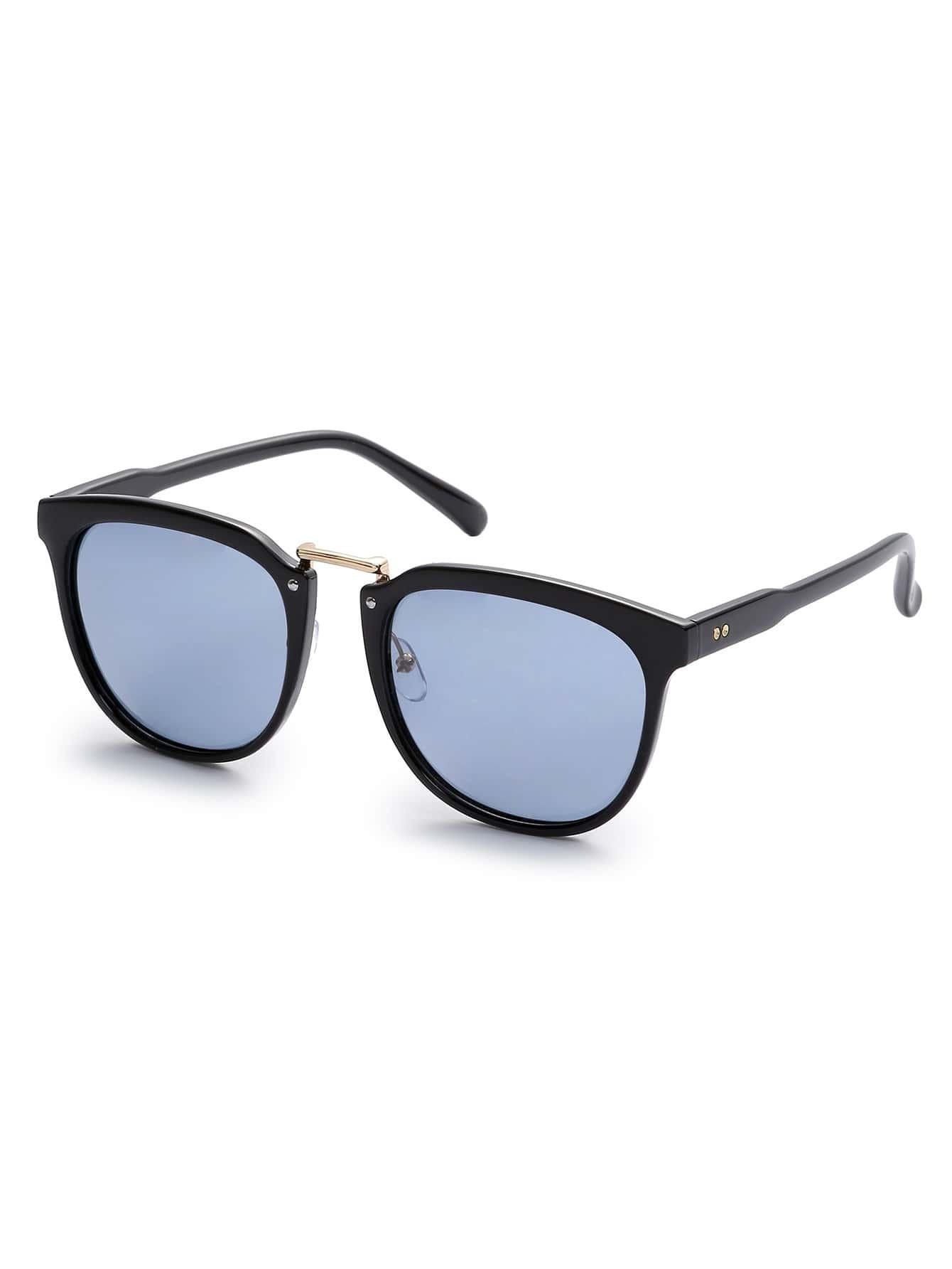 Golden Frame Black Sunglasses : Black Frame Gold Metal Bridge Grey Lens Sunglasses