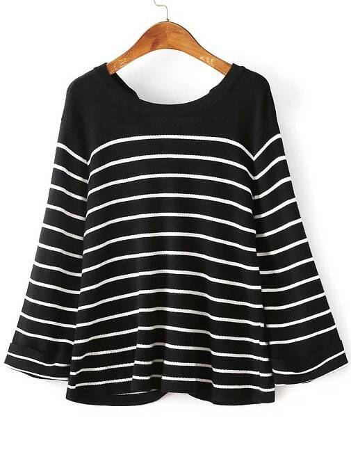 Black Eyelet Lace Up Back Striped Knitwear sweater160812205