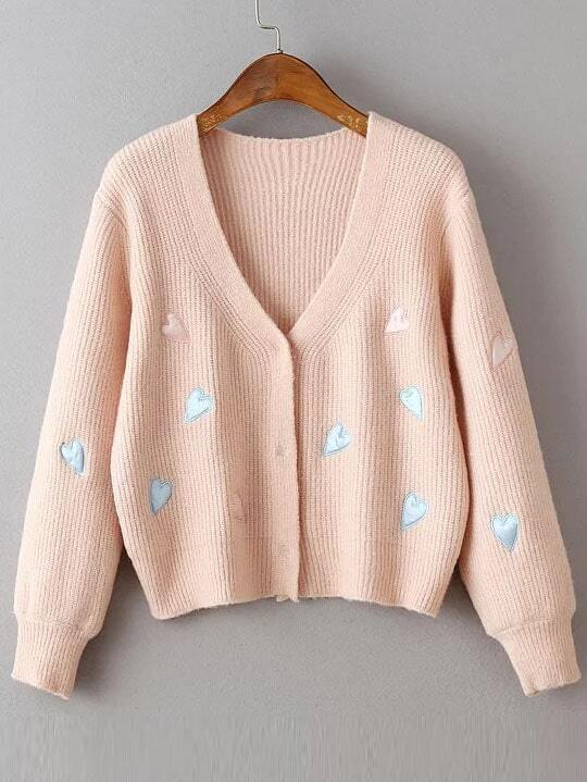 Pink Heart Embroidery Hidden Button Ribbed Sweater Coat