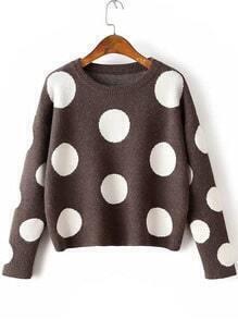 Coffee Polka Dot Drop Shoulder Knitwear