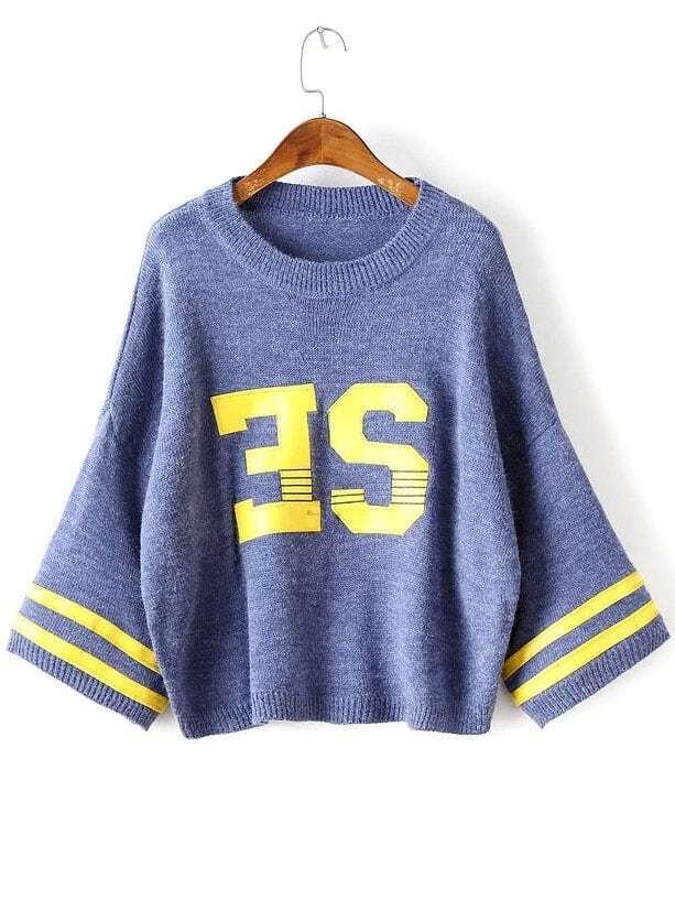 Blue Varsity Drop Shoulder Ribbed Trim Sweater
