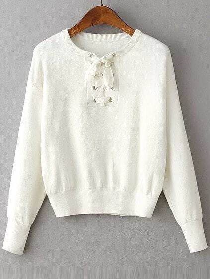 White Eyelet Lace Up Drop Shoulder Sweater