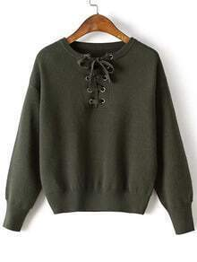 Army Green Eyelet Lace Up Drop Shoulder Sweater