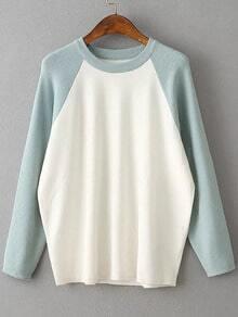 Blue Contrast Raglan Sleeve Ribbed Trim Knitwear