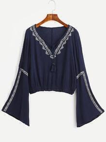 Navy Bell Sleeve Lace Up Fringe Embroidered Blouse