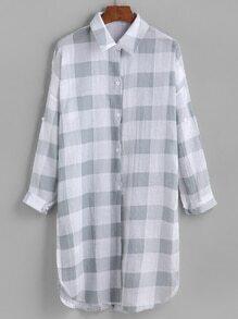 Plaid Drop Shoulder Slit Side Shirt
