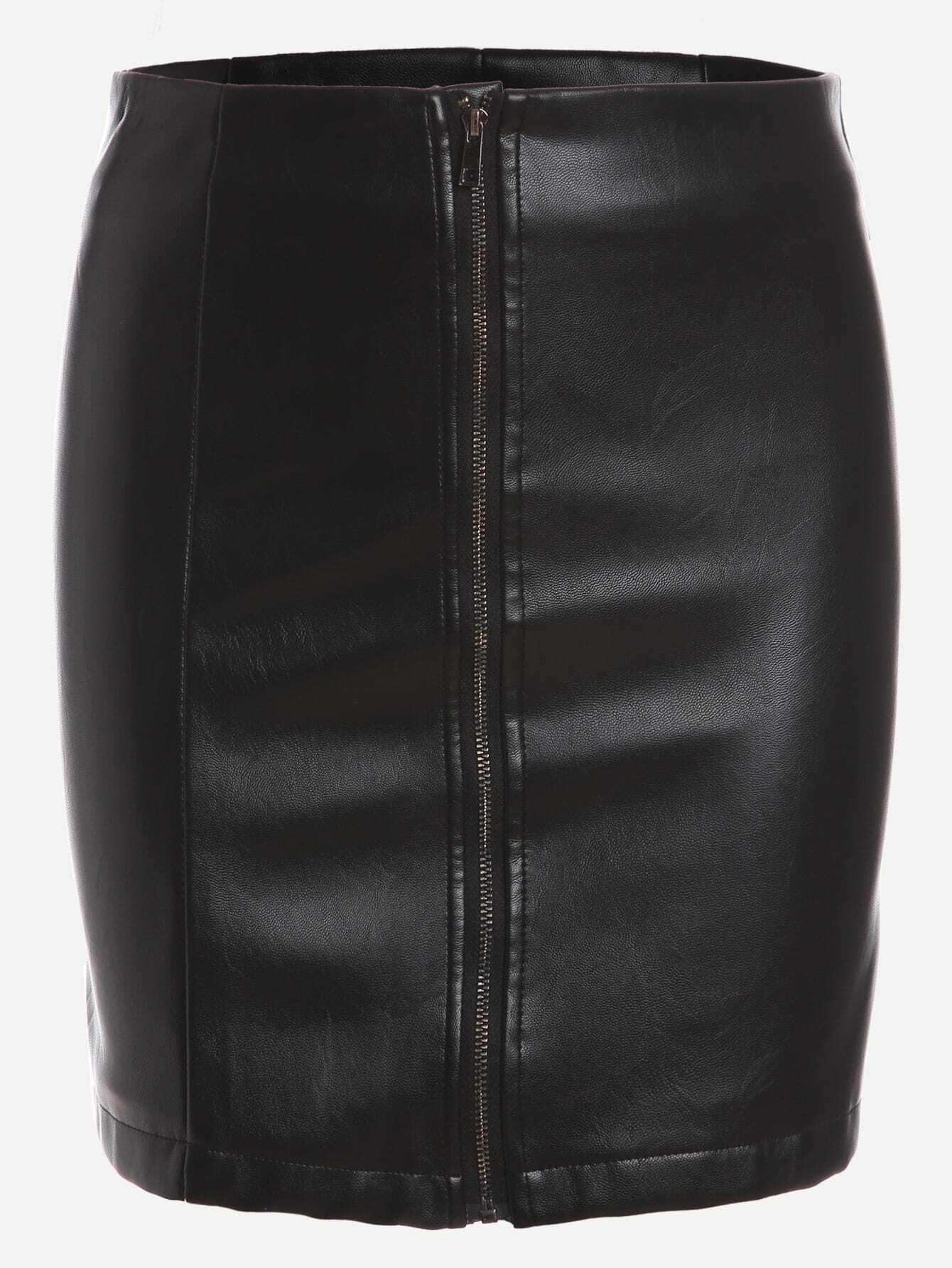 black faux leather zipper front bodycon skirt