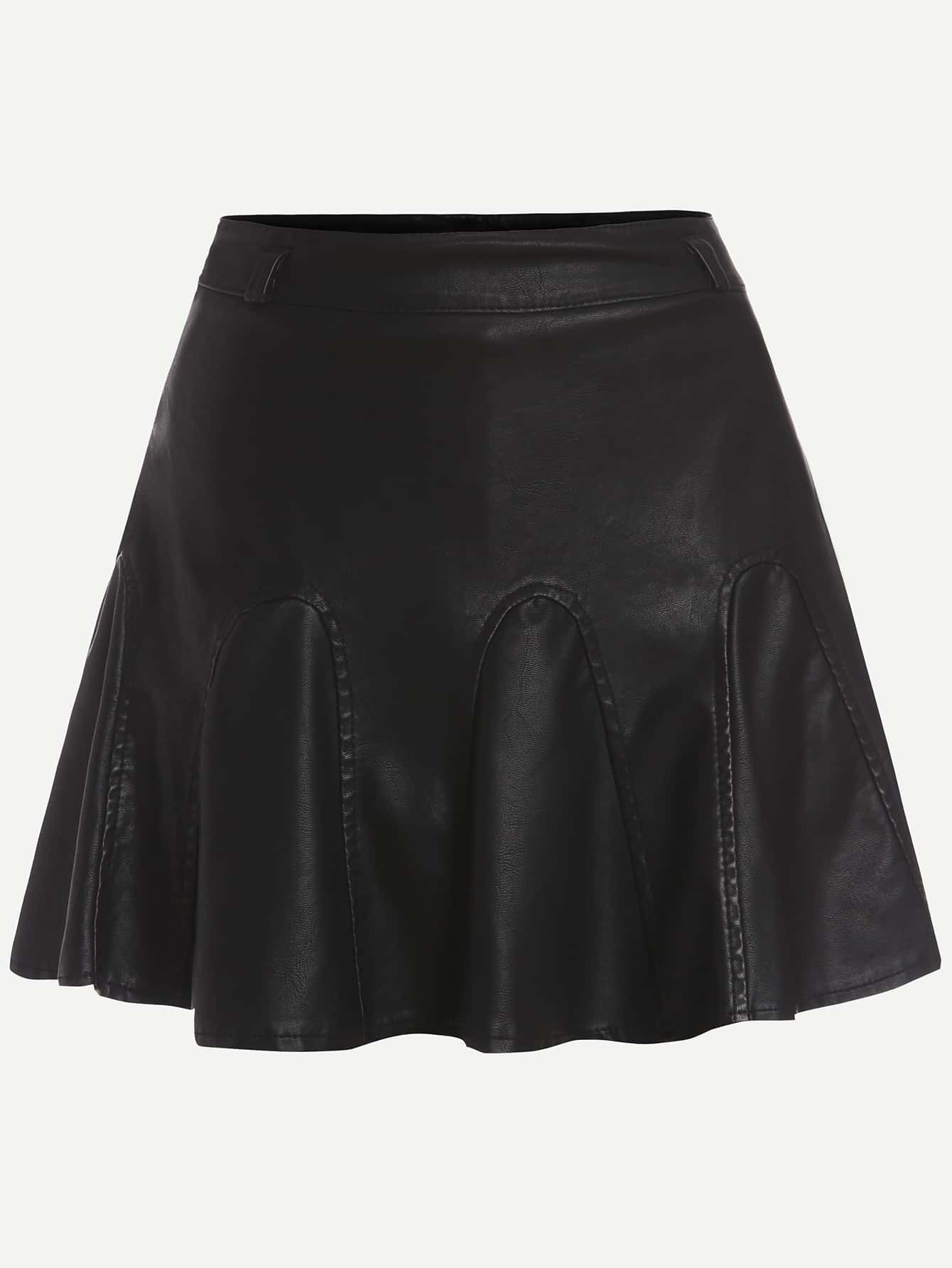 black faux leather box pleated a line skirt