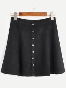 Black Faux Suede Button Front A-Line Skirt