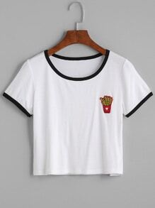 White Contrast Trim French Fries Patch Crop T-shirt