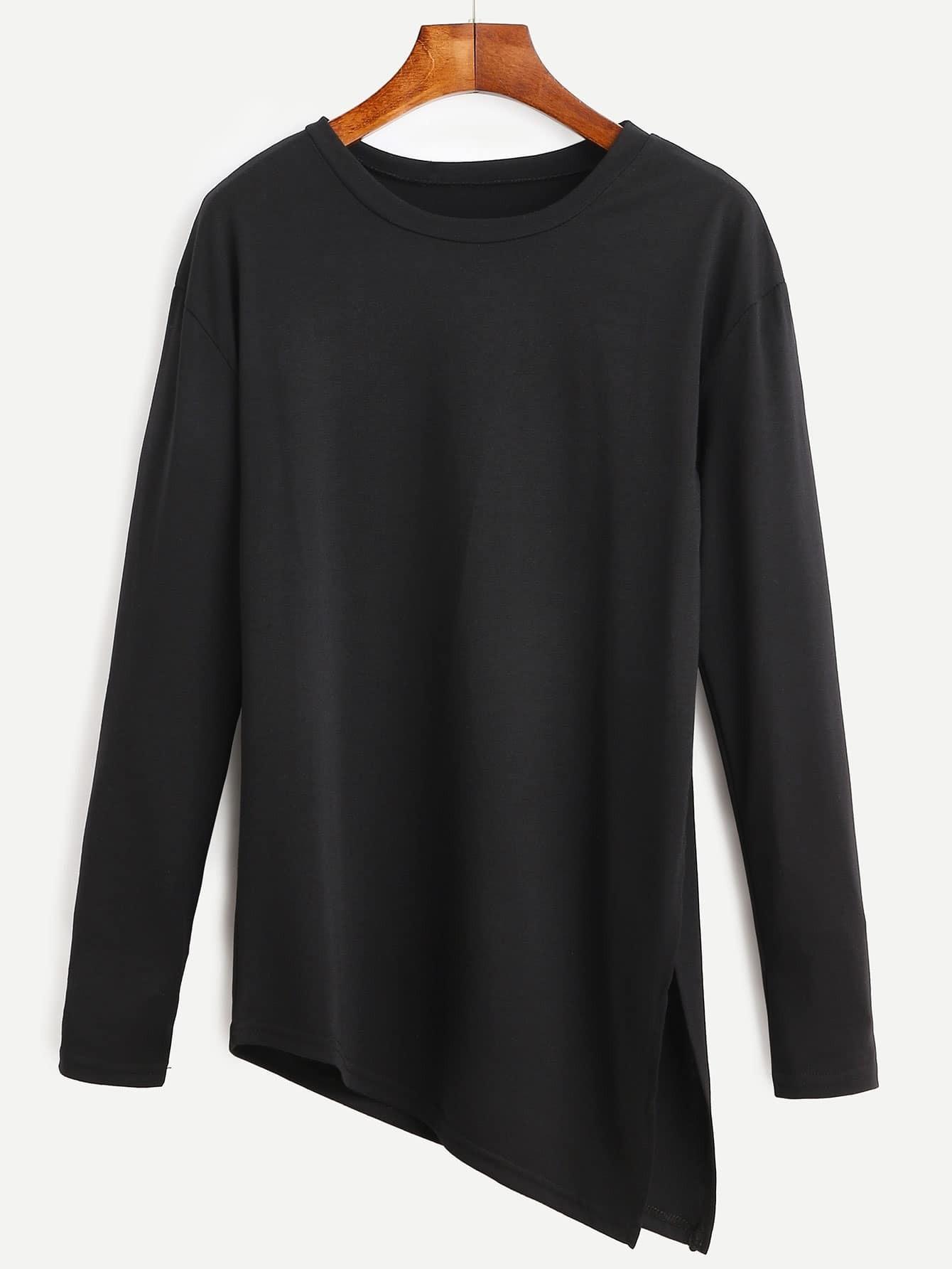 Black Asymmetrical Slit Side Long Sleeve T-shirt