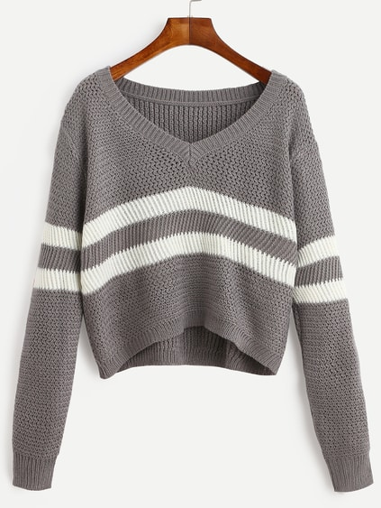 Grey Striped V Neck Crop Sweater