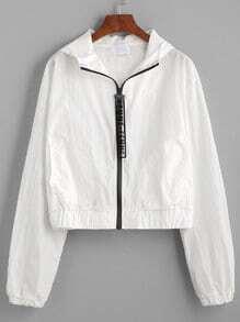 Jacket con capucha cremallera - blanco