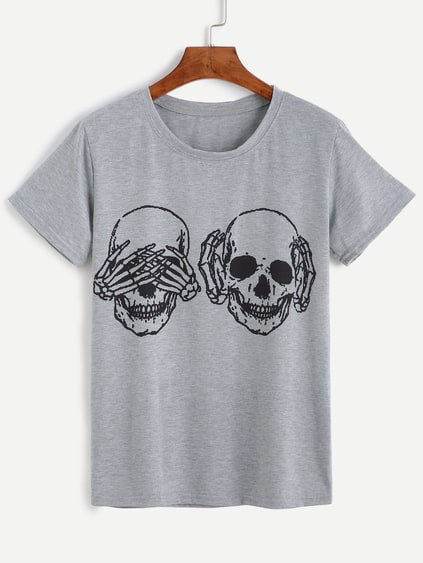 Grey Skull Print Short Sleeve T-shirt