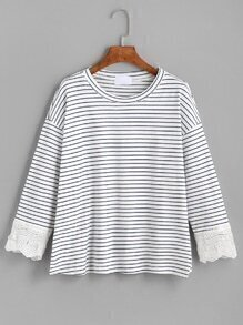 Blue White Striped Crochet Trim T-shirt