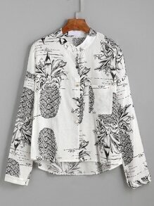 Black And White Pineapple Print Blouse With Pocket