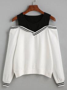 Sweatshirt Cut-Outs am Schulter - schwarz