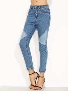 Color Block Skinny Ankle Jeans