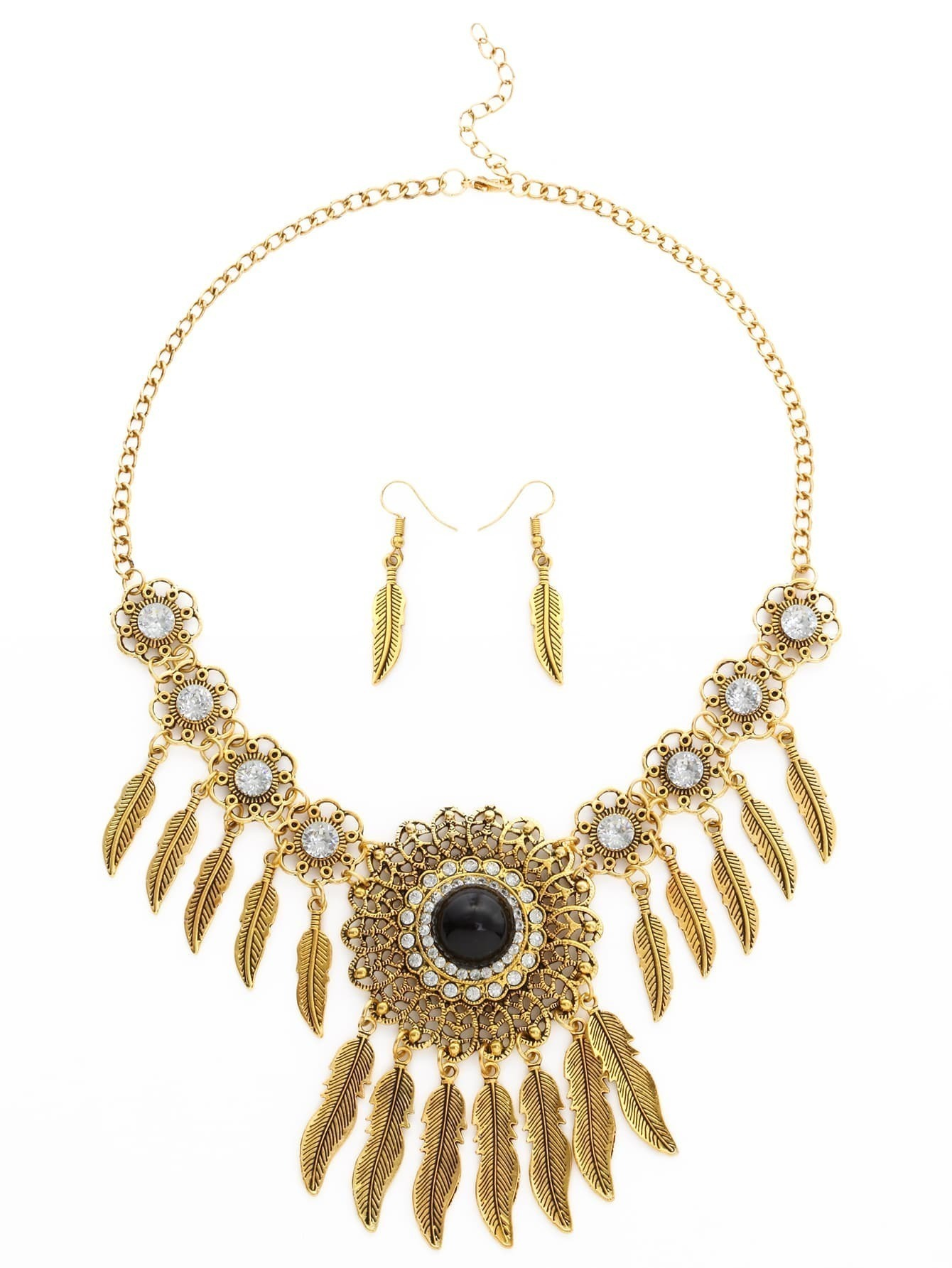 Vintage gold plated leaf statement jewelry setfor women romwe for Is gold plated jewelry worth anything