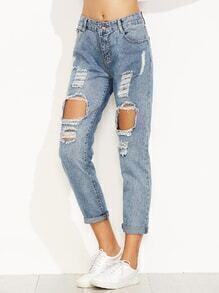 Jeans décontractés effet déchiré - bleu