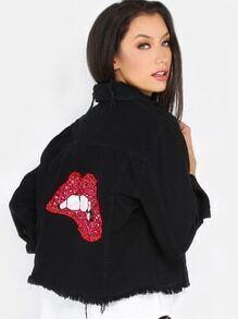 Denim Jacke mit Paillettenverziertem Lippen Muster - schwarz