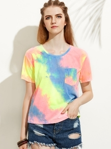 Multicolor Print Round Neck Pocket Short Sleeve T-shirt