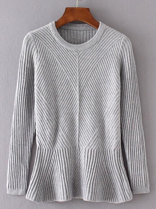 Grey Ruffle Hem Ribbed Sweater