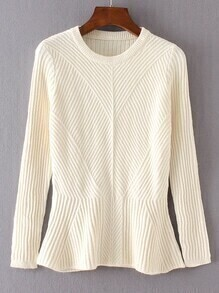 Beige Ruffle Hem Ribbed Sweater