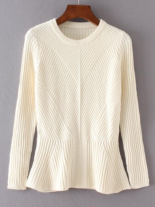 Beige Ruffle Hem Ribbed Sweater