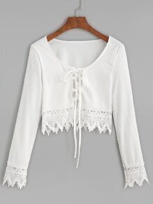 White Scoop Neck Lace Up Crochet Trim Blouse