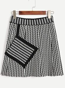 Black White Chevron Print Patch Pocket Knit Skirt