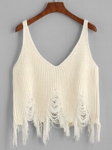 Beige Ripped Fringe Hem Knit Cami Top