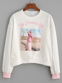 White Girl And Letter Print Contrast Cuff Sweatshirt
