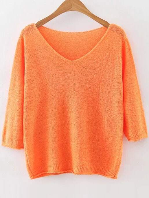 Orange V Neck Ribbed Trim Knitwear sweater160815204