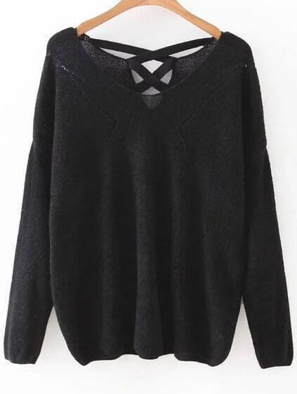 Black V Neck Criss Cross Back Knitwear