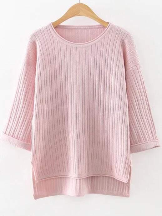 Pink Drop Shoulder Ribbed Dip Hem Knitwear sweater160815216