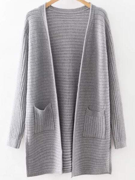 Grey Collarless Ribbed Split Side Pocket Long Cardigan sweater160815217