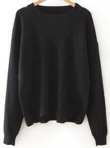 Black Round Neck Ribbed Split Side Knitwear