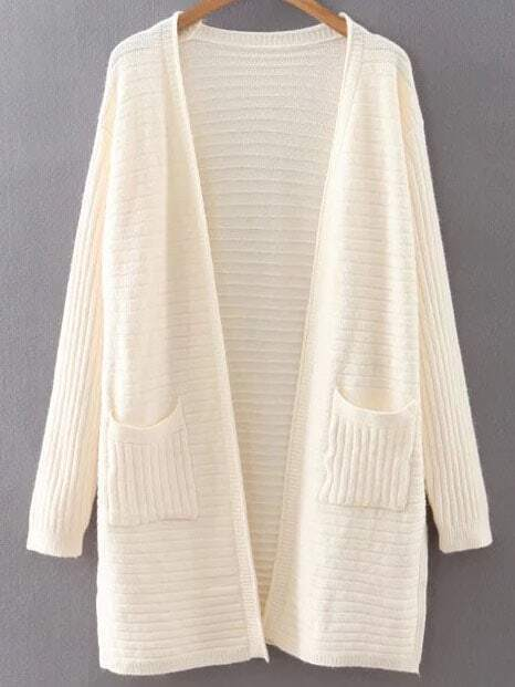 Beige Collarless Ribbed Split Side Pocket Long Cardigan sweater160815218