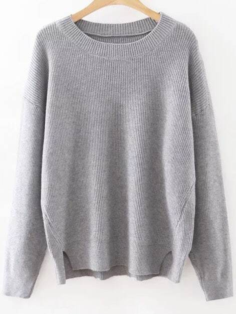 Grey Round Neck Ribbed Split Side Knitwear