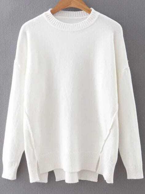 White Drop Shoulder Ribbed Hem Split Knitwear sweater160815223