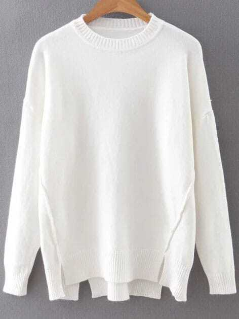 White Drop Shoulder Ribbed Hem Split Knitwear